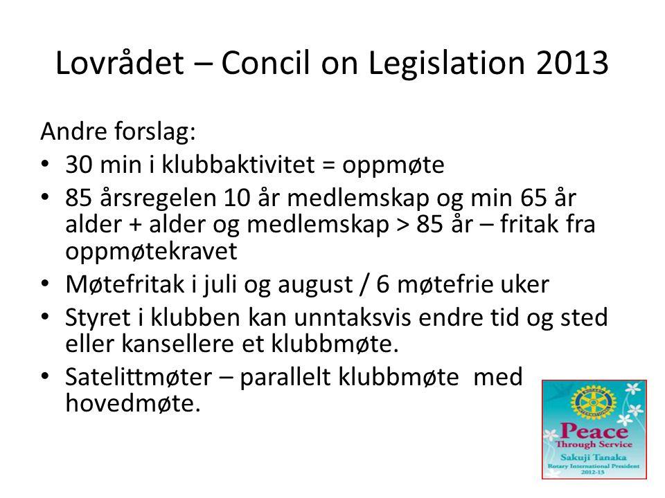 Lovrådet – Concil on Legislation 2013 • Oppheve Møteplikten (RI Board) • Klubbmøte, enten hver uke eller annen hver uke.