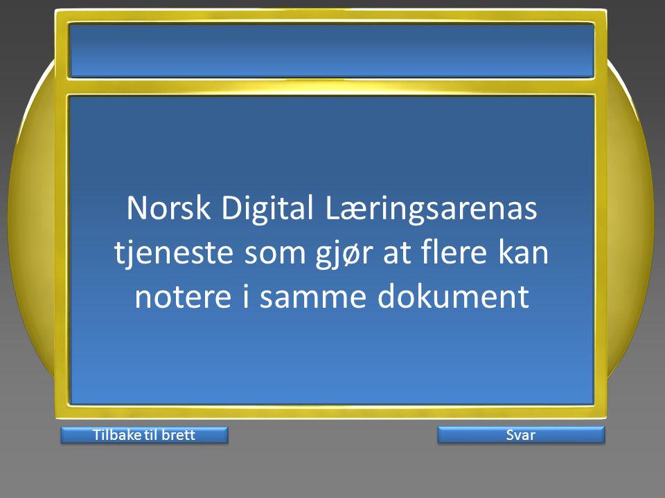 Norsk Digital Læringsarenas tjeneste som gjør at flere kan notere i samme dokument Svar Tilbake til brett