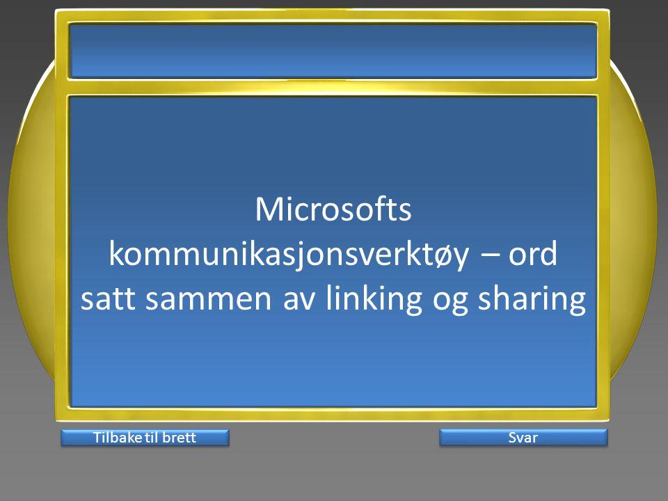 Microsofts kommunikasjonsverktøy – ord satt sammen av linking og sharing Svar Tilbake til brett