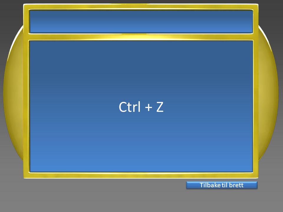 Ctrl + Z Tilbake til brett