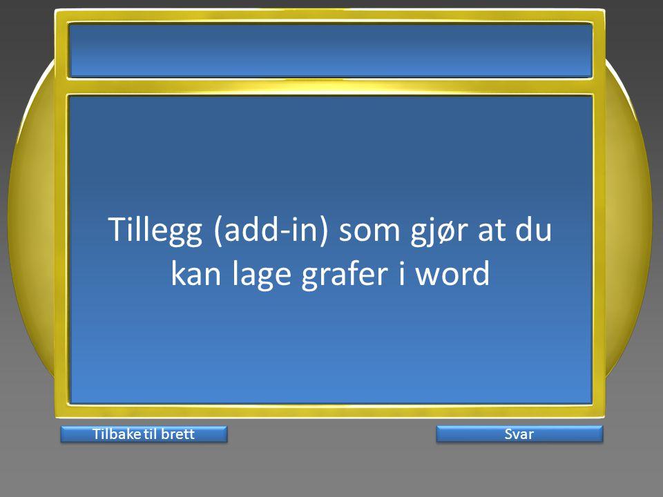 Tillegg (add-in) som gjør at du kan lage grafer i word Svar Tilbake til brett
