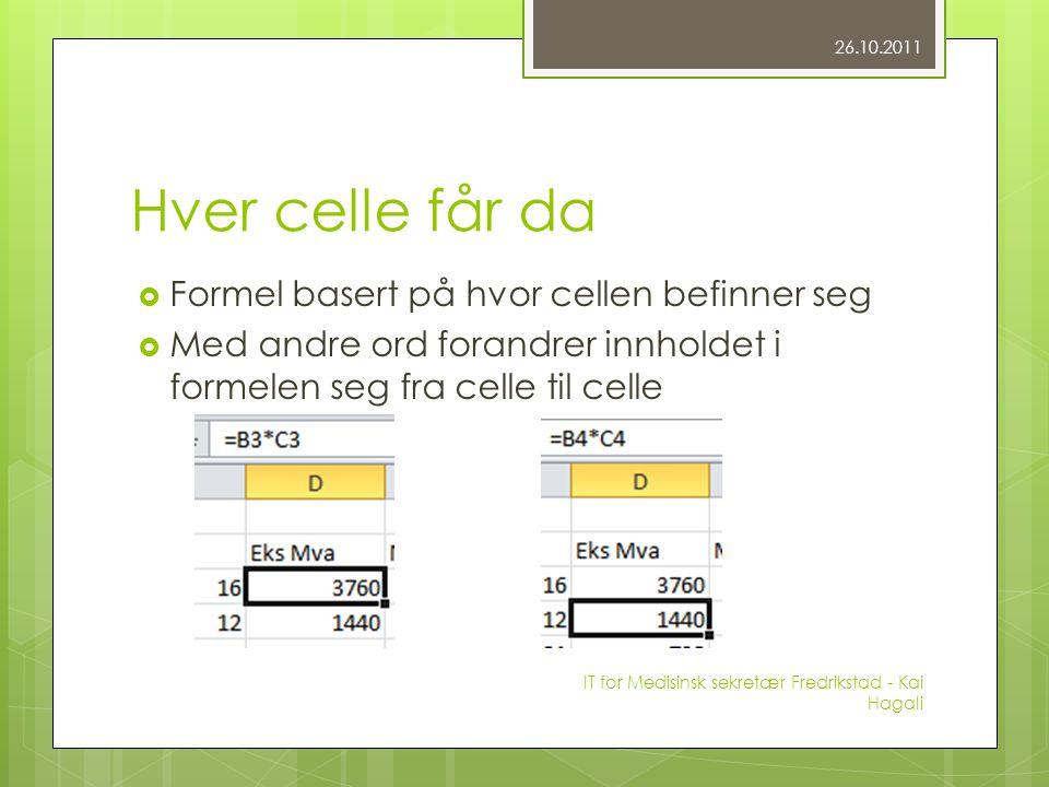 Hver celle får da  Formel basert på hvor cellen befinner seg  Med andre ord forandrer innholdet i formelen seg fra celle til celle 26.10.2011 IT for Medisinsk sekretær Fredrikstad - Kai Hagali