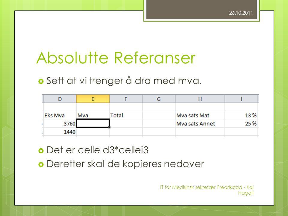 Absolutte Referanser  Sett at vi trenger å dra med mva.  Det er celle d3*cellei3  Deretter skal de kopieres nedover 26.10.2011 IT for Medisinsk sek