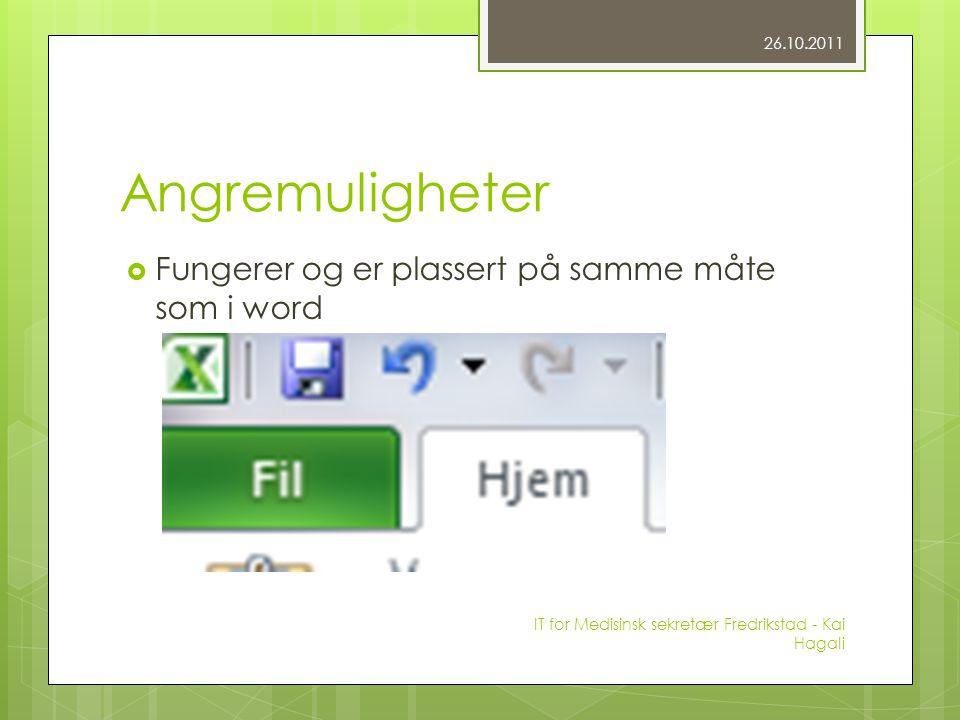 Angremuligheter  Fungerer og er plassert på samme måte som i word 26.10.2011 IT for Medisinsk sekretær Fredrikstad - Kai Hagali