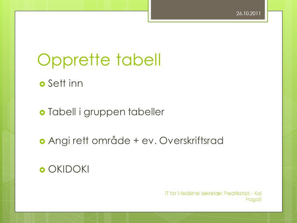 Opprette tabell  Sett inn  Tabell i gruppen tabeller  Angi rett område + ev.
