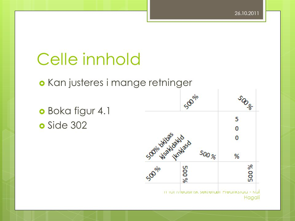Celle innhold  Kan justeres i mange retninger  Boka figur 4.1  Side 302 26.10.2011 IT for Medisinsk sekretær Fredrikstad - Kai Hagali