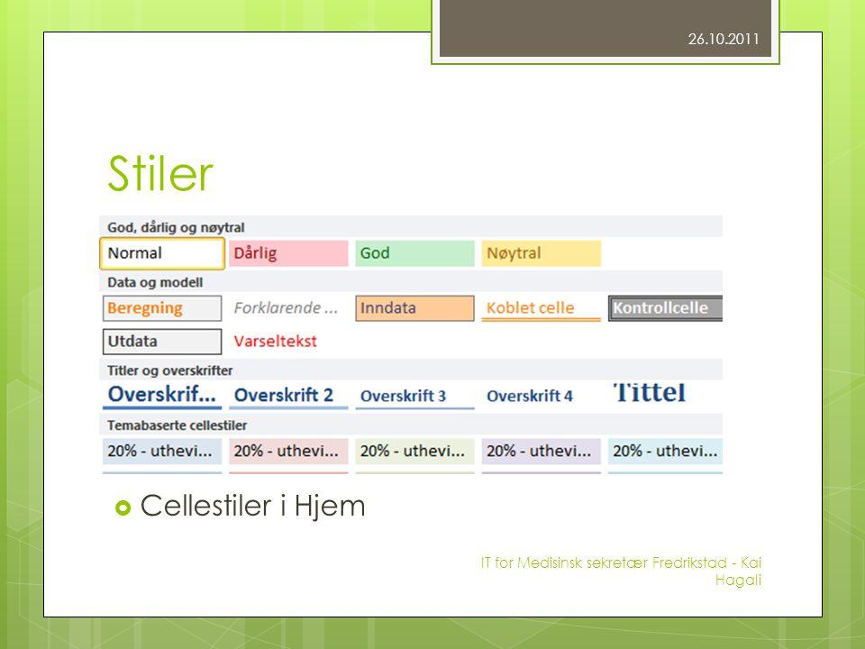 Stiler  Cellestiler i Hjem 26.10.2011 IT for Medisinsk sekretær Fredrikstad - Kai Hagali