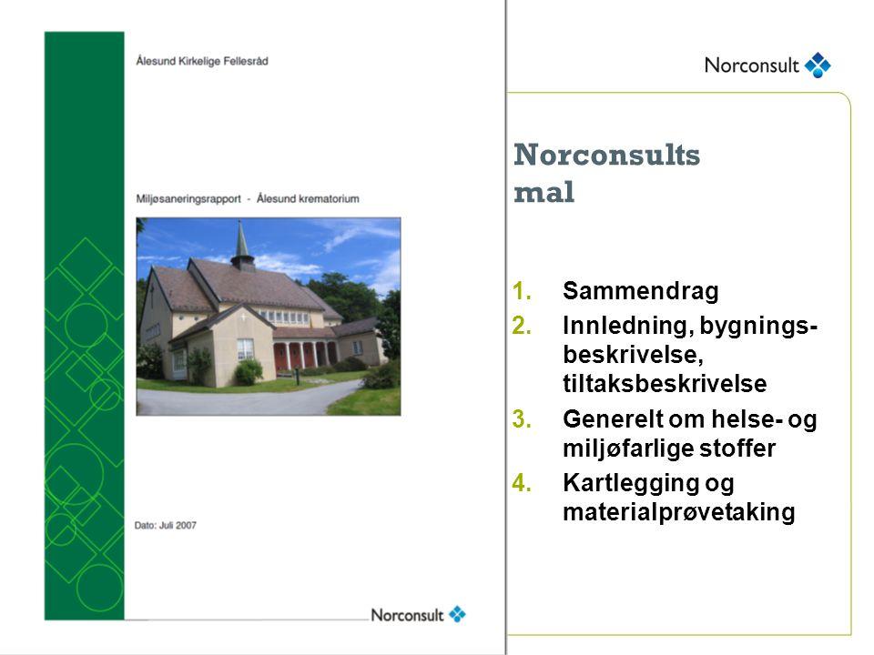 Norconsults mal 1.Sammendrag 2.Innledning, bygnings- beskrivelse, tiltaksbeskrivelse 3.Generelt om helse- og miljøfarlige stoffer 4.Kartlegging og materialprøvetaking