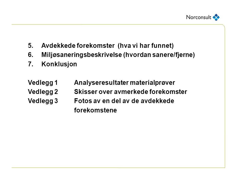 5.Avdekkede forekomster (hva vi har funnet) 6.Miljøsaneringsbeskrivelse (hvordan sanere/fjerne) 7.Konklusjon Vedlegg 1Analyseresultater materialprøver