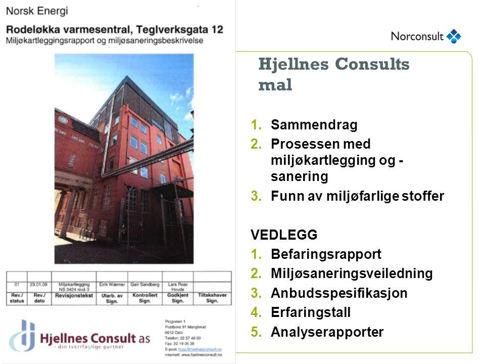 Hjellnes Consults mal 1.Sammendrag 2.Prosessen med miljøkartlegging og - sanering 3.Funn av miljøfarlige stoffer VEDLEGG 1.Befaringsrapport 2.Miljøsaneringsveiledning 3.Anbudsspesifikasjon 4.Erfaringstall 5.Analyserapporter