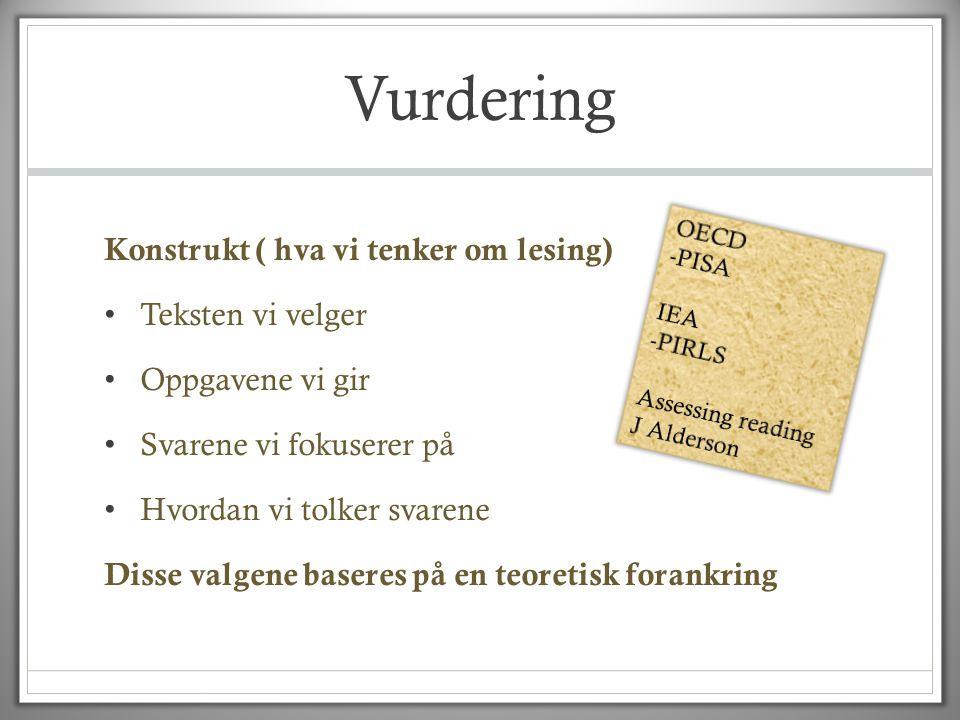 Vurdering Konstrukt ( hva vi tenker om lesing) • Teksten vi velger • Oppgavene vi gir • Svarene vi fokuserer på • Hvordan vi tolker svarene Disse valg