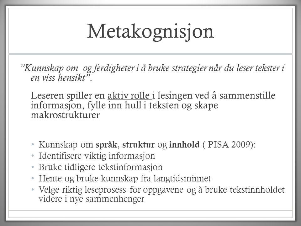 """Metakognisjon """"Kunnskap om og ferdigheter i å bruke strategier når du leser tekster i en viss hensikt"""". Leseren spiller en aktiv rolle i lesingen ved"""