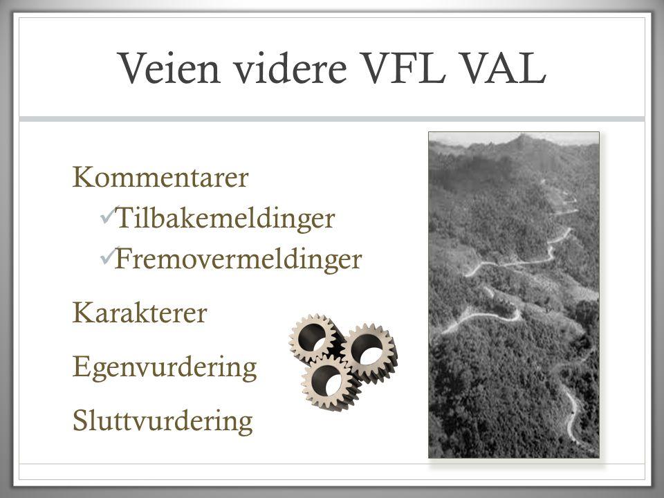 Veien videre VFL VAL Kommentarer  Tilbakemeldinger  Fremovermeldinger Karakterer Egenvurdering Sluttvurdering