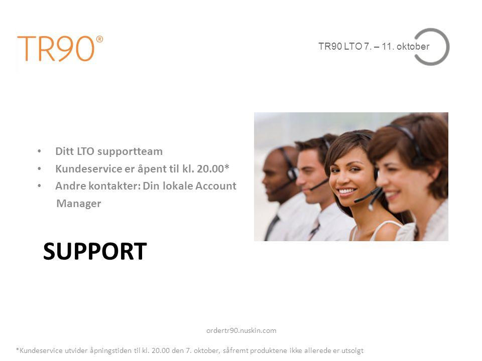 TR90 LTO 7. – 11. oktober SUPPORT • Ditt LTO supportteam • Kundeservice er åpent til kl. 20.00* • Andre kontakter: Din lokale Account Manager ordertr9