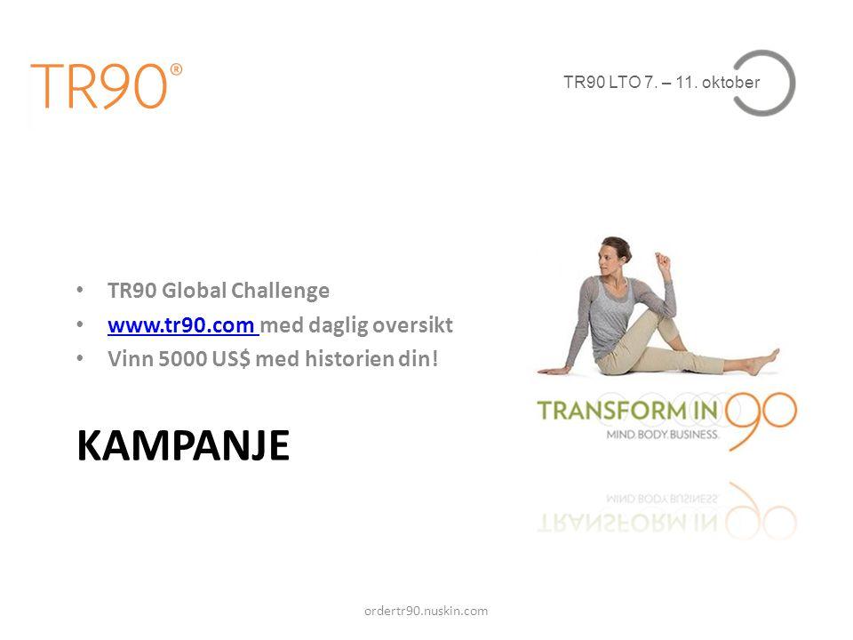 TR90 LTO 7. – 11. oktober KAMPANJE • TR90 Global Challenge • www.tr90.com med daglig oversikt www.tr90.com • Vinn 5000 US$ med historien din! ordertr9