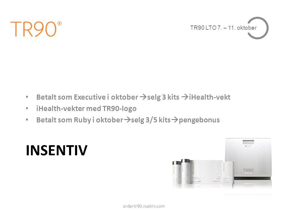 TR90 LTO 7. – 11. oktober INSENTIV • Betalt som Executive i oktober  selg 3 kits  iHealth-vekt • iHealth-vekter med TR90-logo • Betalt som Ruby i ok