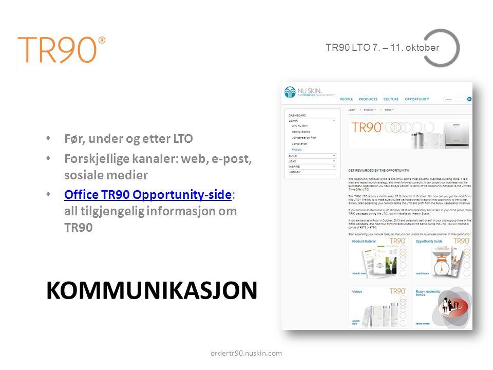 TR90 LTO 7. – 11. oktober KOMMUNIKASJON • Før, under og etter LTO • Forskjellige kanaler: web, e-post, sosiale medier • Office TR90 Opportunity-side: