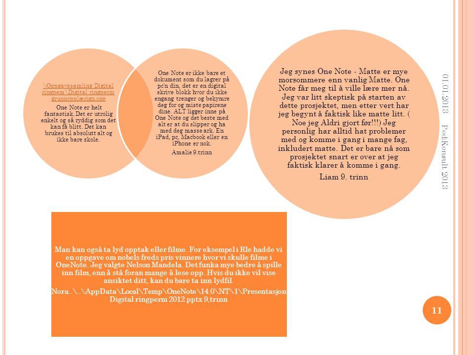 01.01.2013 Ped:Konsult 2013 11 \Oppgavesamling Digital ringpem\Digital ringperm grunnopplærign.one One Note er helt fantastisk.