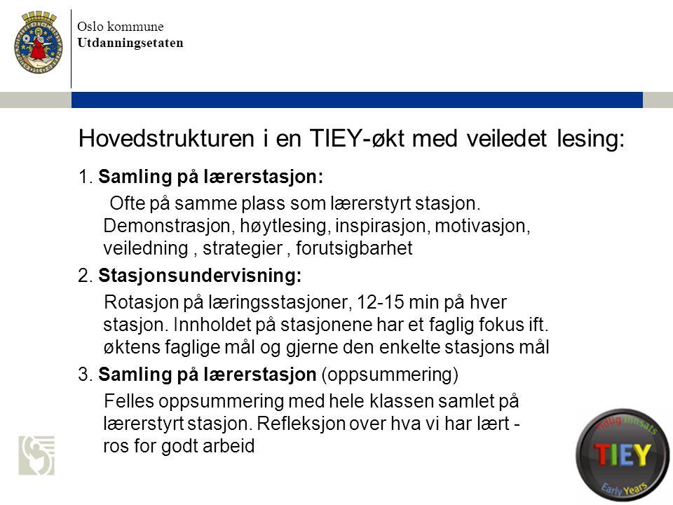 Oslo kommune Utdanningsetaten Hovedstrukturen i en TIEY-økt med veiledet lesing: 1. Samling på lærerstasjon: Ofte på samme plass som lærerstyrt stasjo