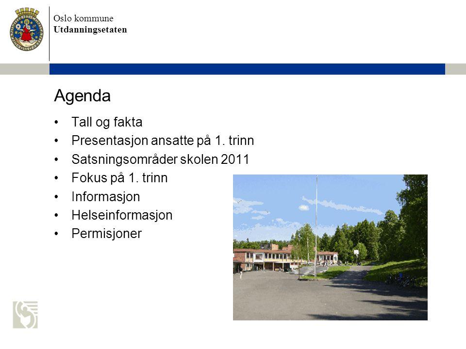 Oslo kommune Utdanningsetaten Agenda •Tall og fakta •Presentasjon ansatte på 1. trinn •Satsningsområder skolen 2011 •Fokus på 1. trinn •Informasjon •H