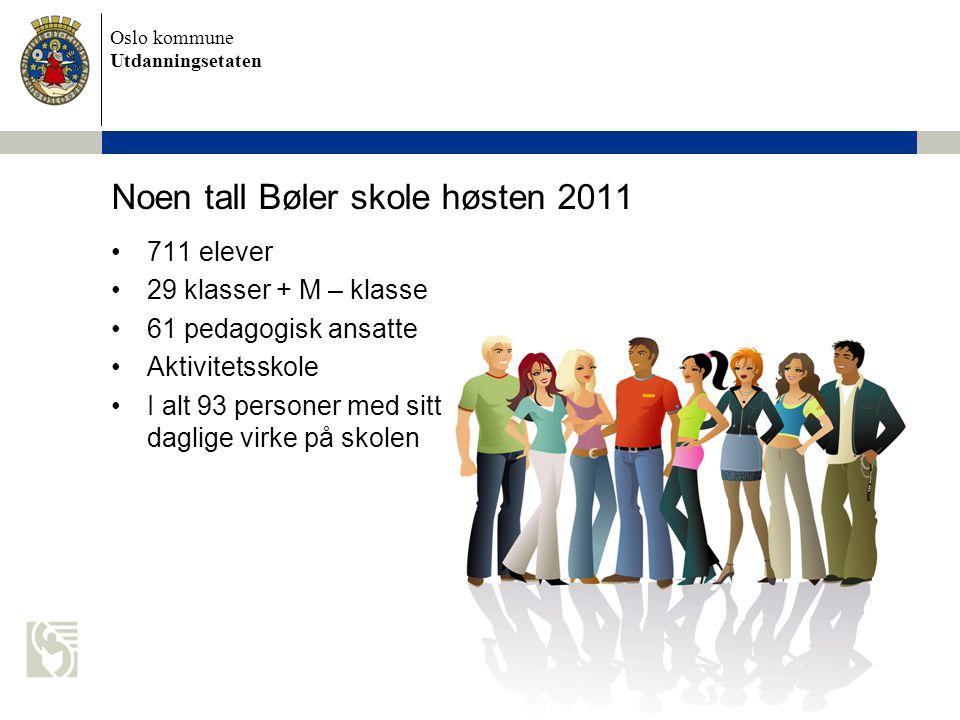 Oslo kommune Utdanningsetaten Noen tall Bøler skole høsten 2011 •711 elever •29 klasser + M – klasse •61 pedagogisk ansatte •Aktivitetsskole •I alt 93