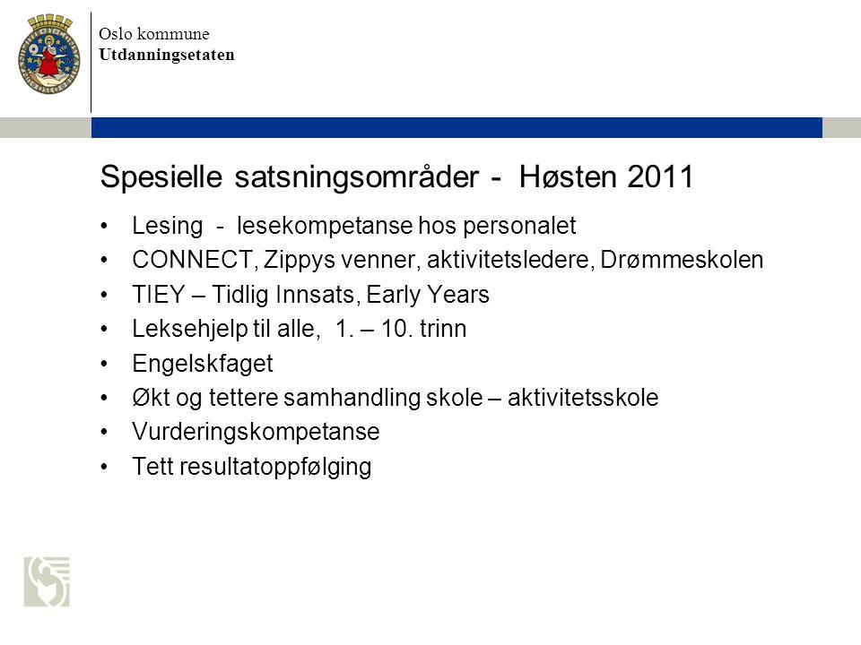 Oslo kommune Utdanningsetaten Spesielle satsningsområder - Høsten 2011 •Lesing - lesekompetanse hos personalet •CONNECT, Zippys venner, aktivitetslede