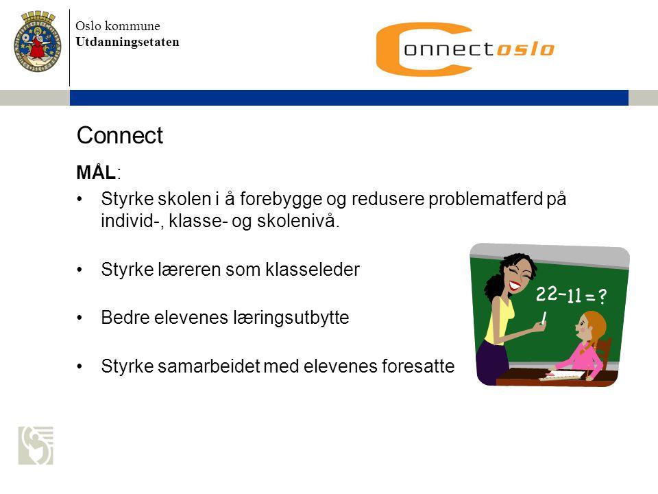Oslo kommune Utdanningsetaten Connect MÅL: •Styrke skolen i å forebygge og redusere problematferd på individ-, klasse- og skolenivå. •Styrke læreren s