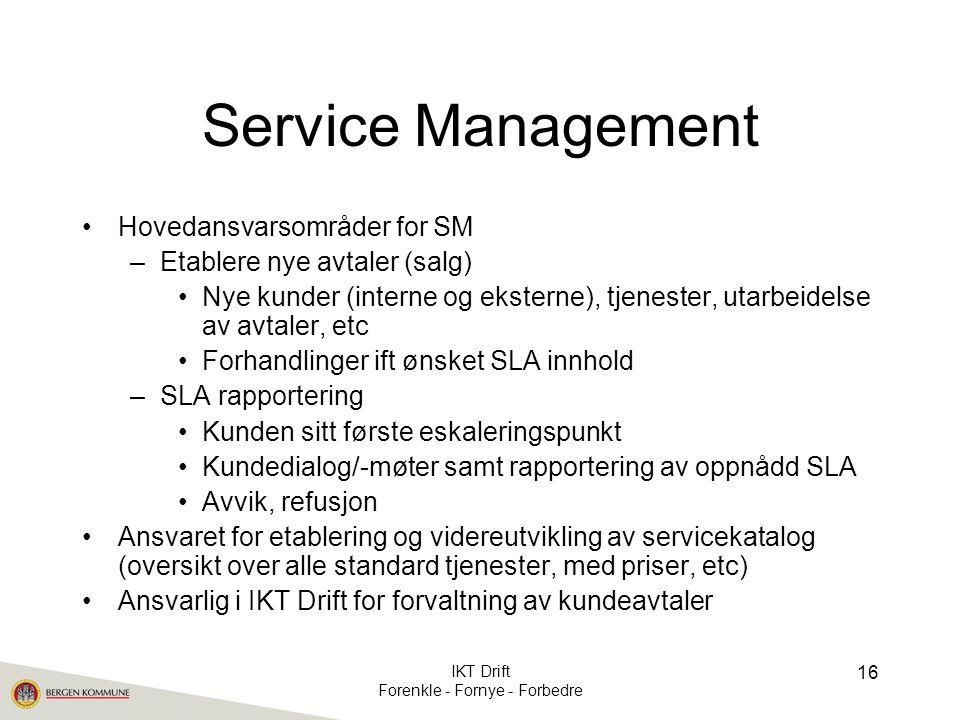 Service Management •Hovedansvarsområder for SM –Etablere nye avtaler (salg) •Nye kunder (interne og eksterne), tjenester, utarbeidelse av avtaler, etc