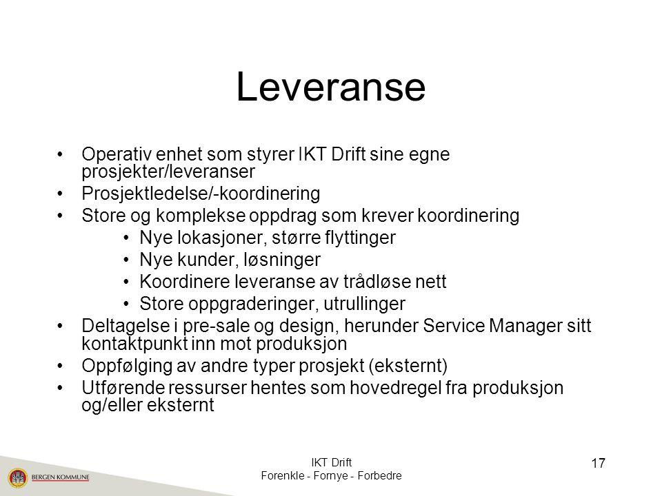 Leveranse •Operativ enhet som styrer IKT Drift sine egne prosjekter/leveranser •Prosjektledelse/-koordinering •Store og komplekse oppdrag som krever k
