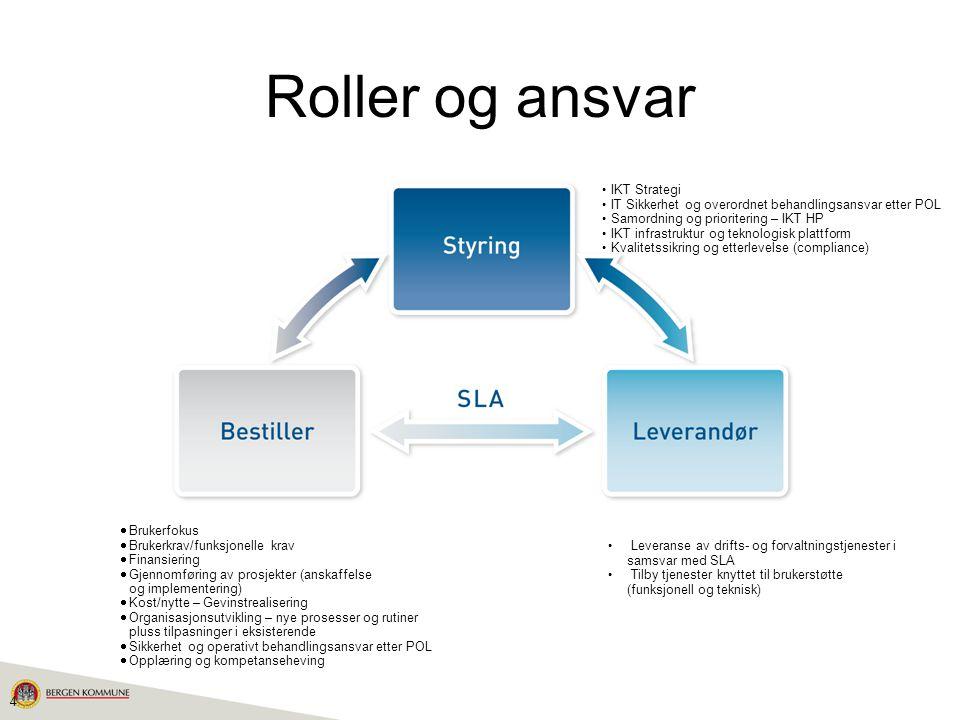4 Roller og ansvar • IKT Strategi • IT Sikkerhet og overordnet behandlingsansvar etter POL • Samordning og prioritering – IKT HP • IKT infrastruktur o
