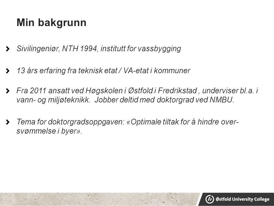 Min bakgrunn Sivilingeniør, NTH 1994, institutt for vassbygging 13 års erfaring fra teknisk etat / VA-etat i kommuner Fra 2011 ansatt ved Høgskolen i Østfold i Fredrikstad, underviser bl.a.
