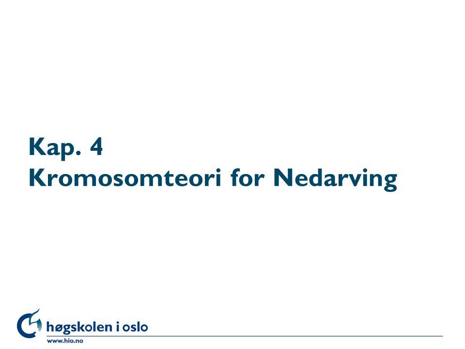 Kap. 4 Kromosomteori for Nedarving