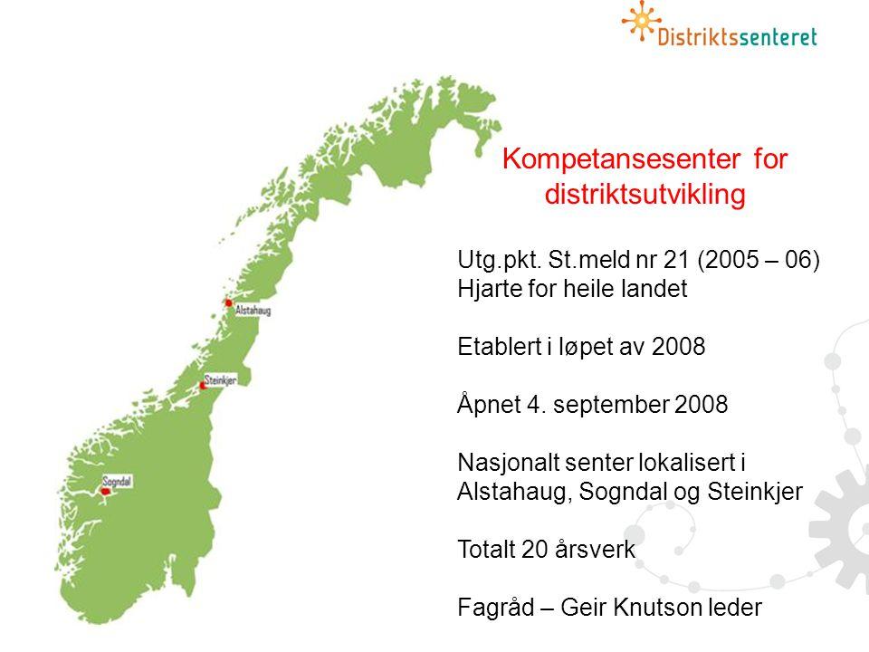 Kompetansesenter for distriktsutvikling Utg.pkt.