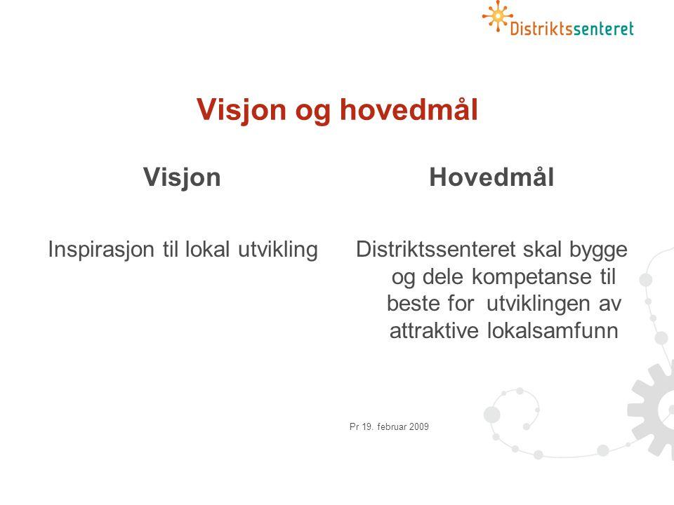 Visjon og hovedmål Visjon Inspirasjon til lokal utvikling Hovedmål Distriktssenteret skal bygge og dele kompetanse til beste for utviklingen av attraktive lokalsamfunn Pr 19.