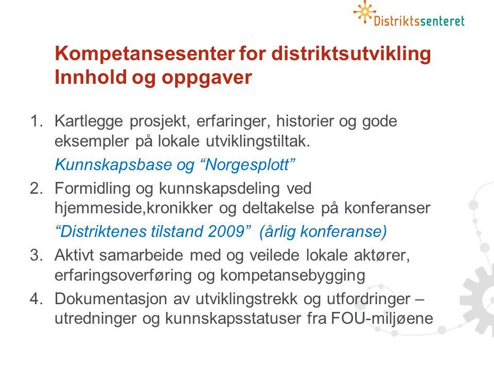 Prioriteringer i 2009 Attraktivitet og bolyst Eksempler på arbeidsområder: -Stedsutvikling -Omdømme og identitet -Mobilisering, medvirkning, demokrati -Tilflytting, migrasjon, hjemflytting -Kultur og fritidstilbud