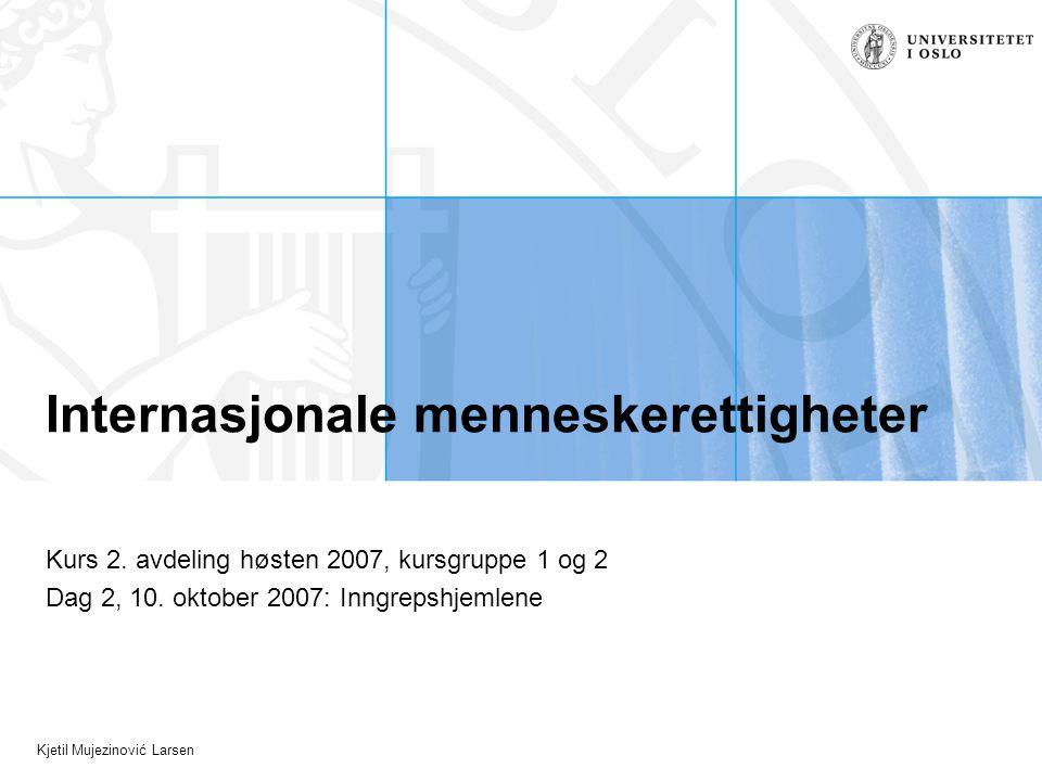 Kjetil Mujezinović Larsen Forberedelse Les EMDs avgjørelse i saken Leyla Şahin mot Tyrkia fra 2005, særlig avsnitt 14-28 (sakens faktum) og avsnitt 70-123 (partenes anførsler og EMDs vurderinger av EMK artikkel 9).