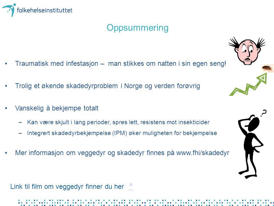 Oppsummering •Traumatisk med infestasjon – man stikkes om natten i sin egen seng! •Trolig et økende skadedyrproblem i Norge og verden forøvrig •Vanske