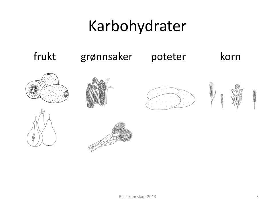 • Karbohydrater gir oss energi • Karbohydrater er «bensin» til kroppen • Vi får karbohydrater fra frukt, grønnsaker, poteter, korn og sukker Basiskunnskap 20136