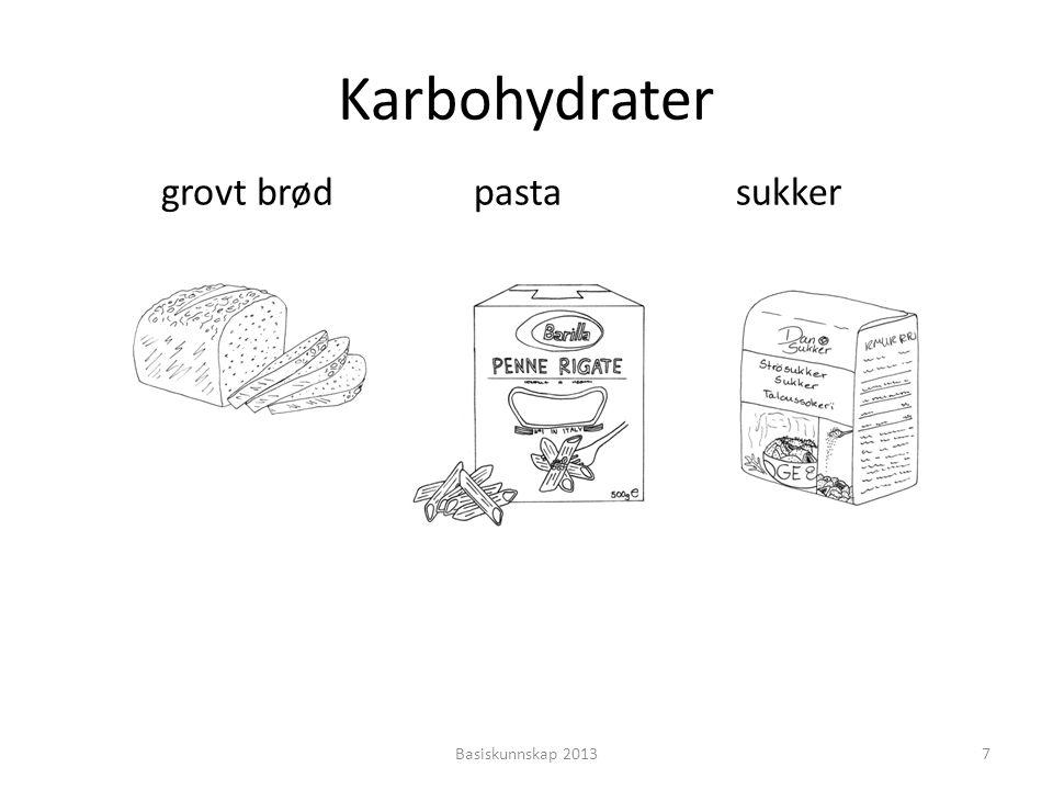 • Noen karbohydrater er bra for kroppen • Disse karbohydratene kommer fra grovt brød, ris, pasta, poteter, frukt og grønnsaker • Usunne karbohydrater kommer fra hvitt brød og sukker • Det er mye sukker i brus, godteri og kaker Basiskunnskap 20138