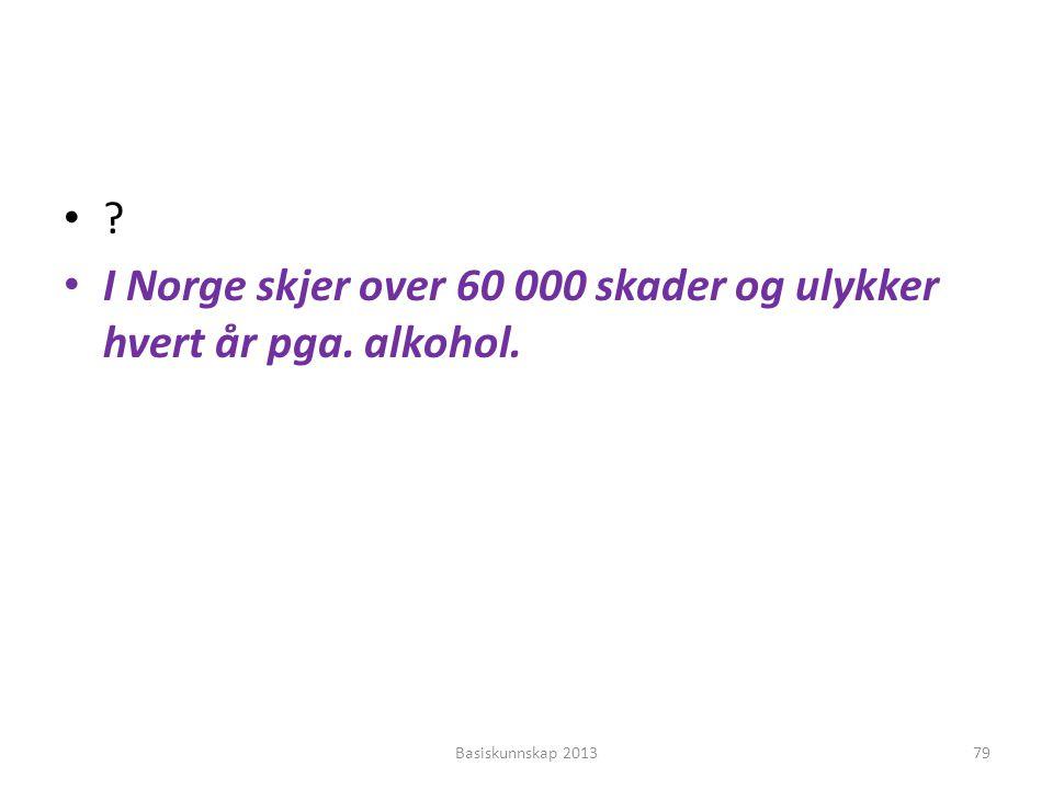 •?•? • I Norge skjer over 60 000 skader og ulykker hvert år pga. alkohol. Basiskunnskap 201379
