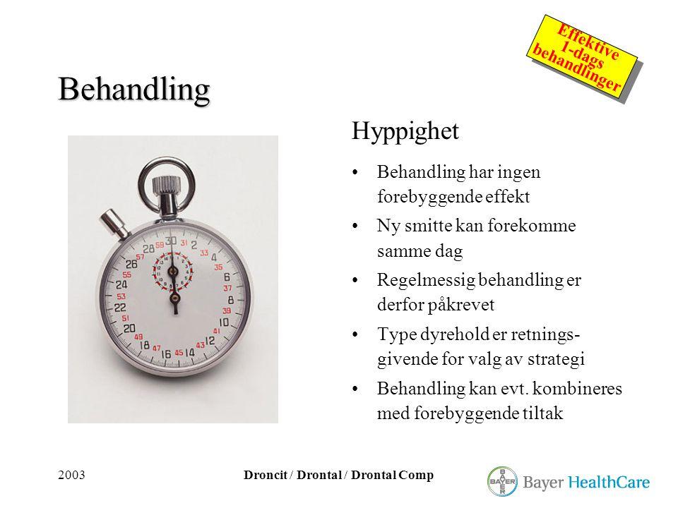 2003Droncit / Drontal / Drontal Comp Effektive 1-dags behandlinger Effektive 1-dags behandlinger Behandling Hyppighet •Behandling har ingen forebyggen
