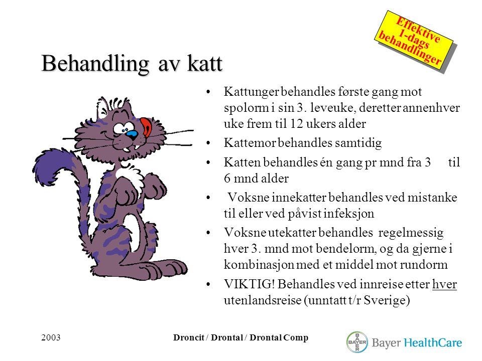 2003Droncit / Drontal / Drontal Comp Effektive 1-dags behandlinger Effektive 1-dags behandlinger Behandling av katt •Kattunger behandles første gang m