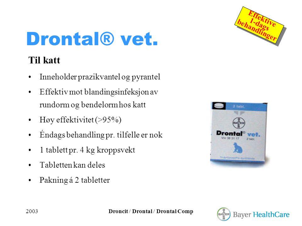 2003Droncit / Drontal / Drontal Comp Effektive 1-dags behandlinger Effektive 1-dags behandlinger Drontal® vet. Til katt •Inneholder prazikvantel og py