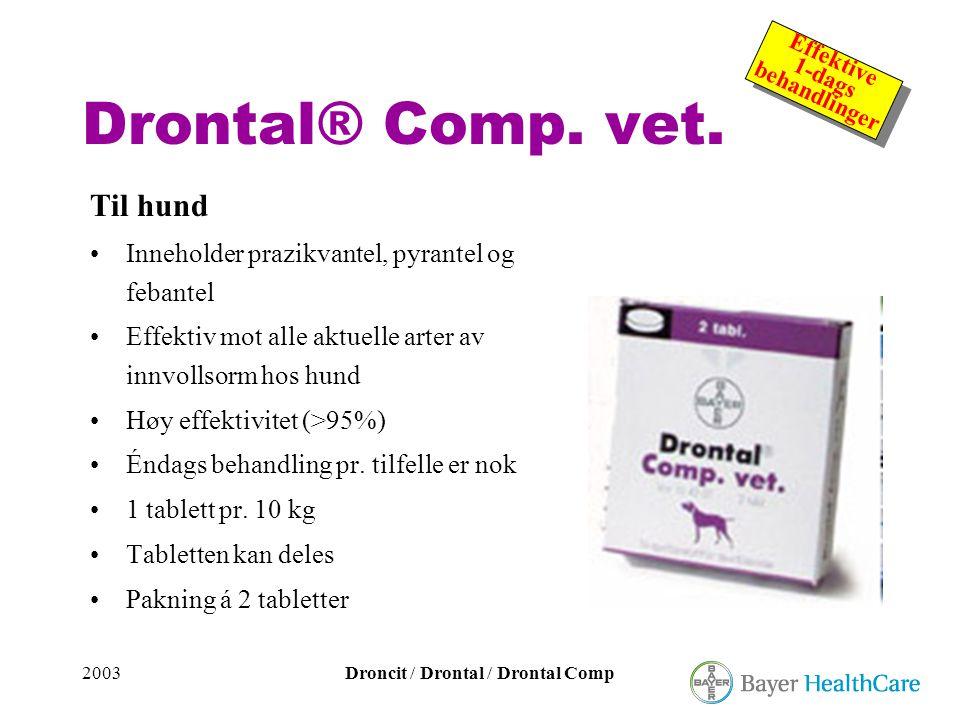 2003Droncit / Drontal / Drontal Comp Effektive 1-dags behandlinger Effektive 1-dags behandlinger Drontal® Comp. vet. Til hund •Inneholder prazikvantel