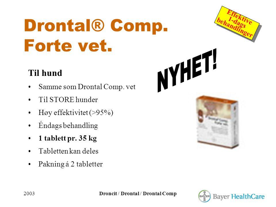 2003Droncit / Drontal / Drontal Comp Effektive 1-dags behandlinger Effektive 1-dags behandlinger Drontal® Comp. Forte vet. Til hund •Samme som Drontal