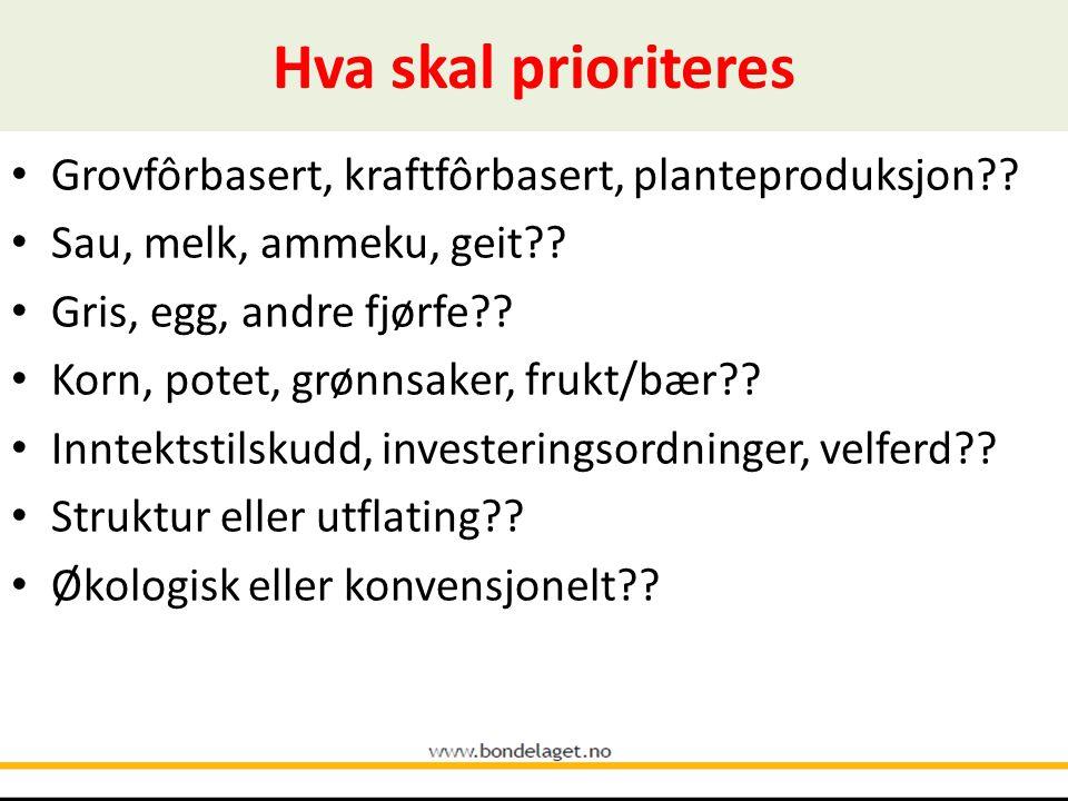 Hva skal prioriteres • Grovfôrbasert, kraftfôrbasert, planteproduksjon .