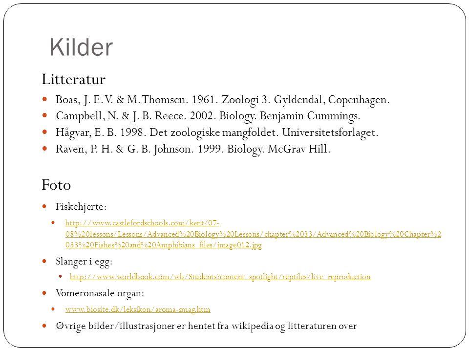 Kilder Litteratur  Boas, J. E. V. & M. Thomsen. 1961. Zoologi 3. Gyldendal, Copenhagen.  Campbell, N. & J. B. Reece. 2002. Biology. Benjamin Cumming