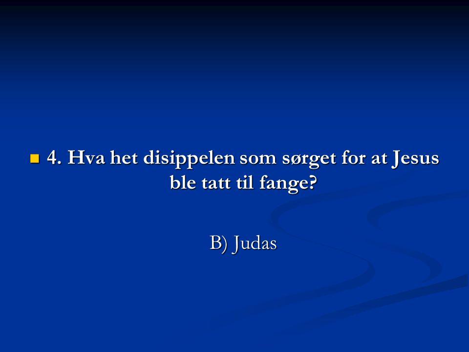  4. Hva het disippelen som sørget for at Jesus ble tatt til fange? B) Judas