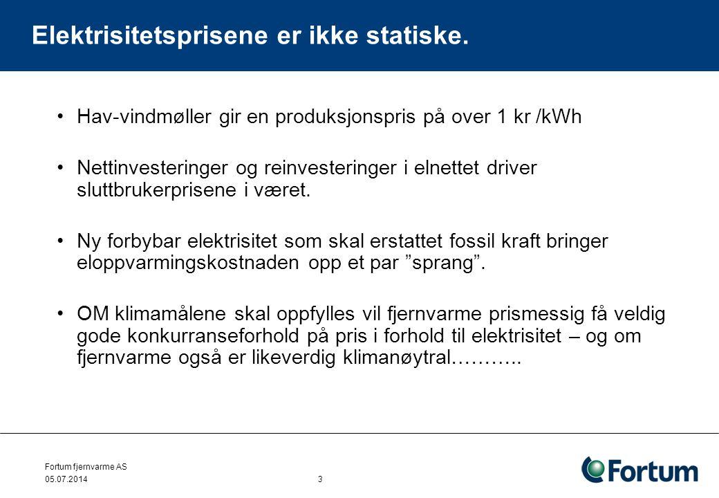 Fortum fjernvarme AS 05.07.2014 3 Elektrisitetsprisene er ikke statiske. •Hav-vindmøller gir en produksjonspris på over 1 kr /kWh •Nettinvesteringer o