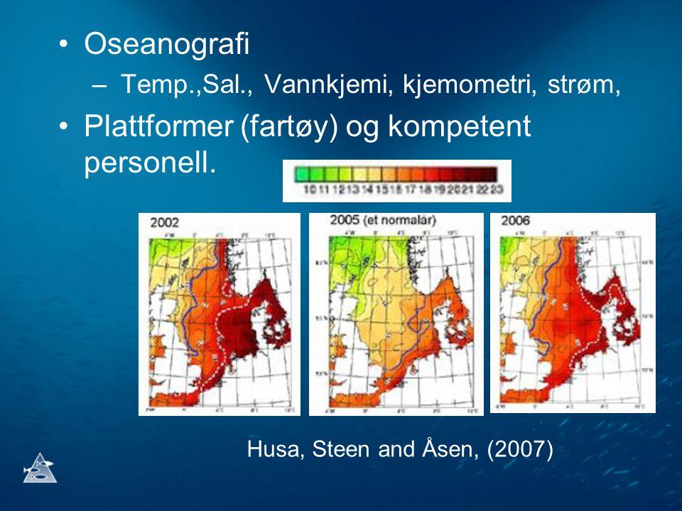 •Oseanografi – Temp.,Sal., Vannkjemi, kjemometri, strøm, •Plattformer (fartøy) og kompetent personell.